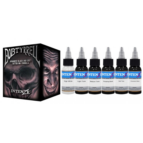 INTENZE Bob Tyrrell Advanced Black and Grey Tattoo Ink Formula Set набор